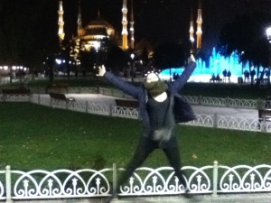 NYE star jump in front of the Blue Mosque